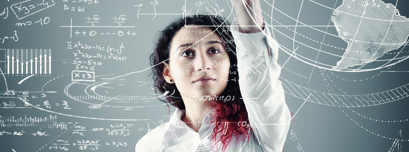 Female mathematician writing equations