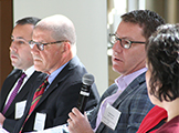 "Dr. Paul Checchia ('89), Professor Mark Sheldon and Brad Helfand ('01) discuss the variety of career paths available to students with an interest in health care during the ""Beyond the MD"" panel event."