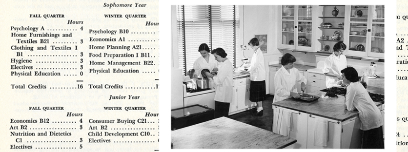 "Home economics students work in Northwestern's ""foods laboratory"" in the 1940s."