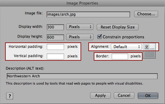 screenshot of image properties window