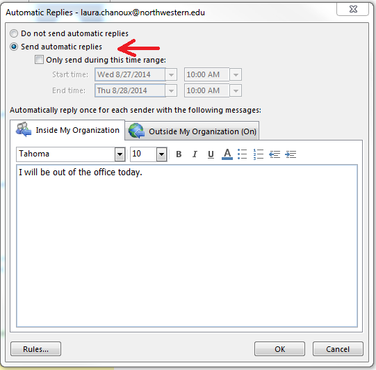 how to create out of office message in outlook 2013