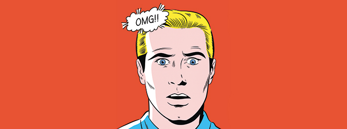 "Pop art illustration of a man saying ""OMG!!"""