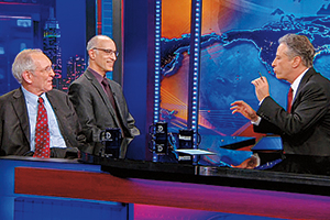 "Benjamin Page (below left) with Martin Gilens (center) on ""The Daily Show with Jon Stewart."""