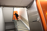"Navigation could be challenging in the old Kresge. Now, the three stairwells are color-coded: orange, yellow or red. ""Each provides a visual cue to help you find your way around,"" Lothan says."