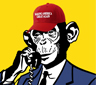 A cartoon chimp wearing a MAGA hat in a suit