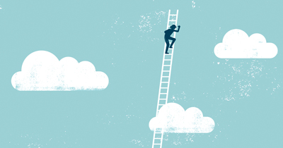 illustration of a person climbing a ladder into clouds