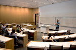 Economics classroom:  A spacious classroom on the ground floor is earmarked for courses in economics. Like all of the building's 15 classrooms, it features state-of-the-art audiovisual equipment, including the ability to capture and broadcast lectures over the internet.