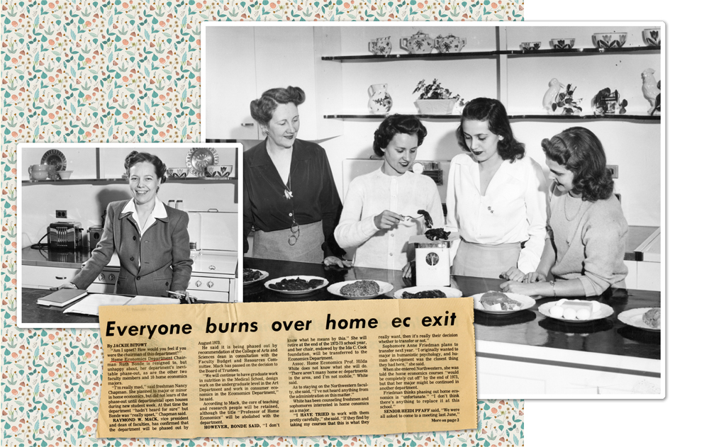 collage featuring department chair Ruth Bonde in 1944, and students in a 1947 nutrition course.