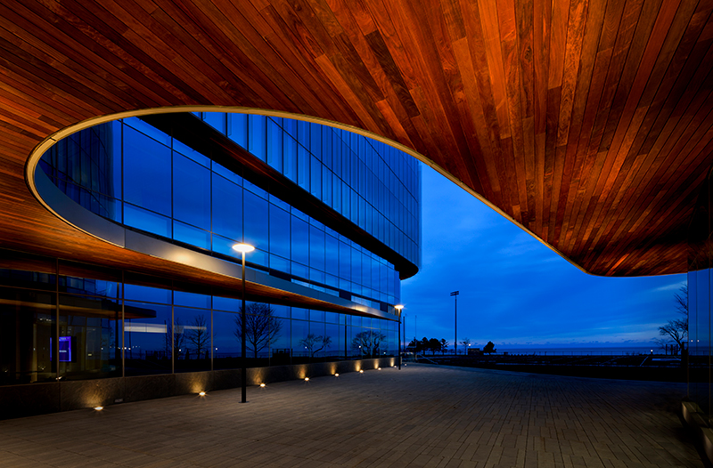 exterior shot of the global hub in the evening
