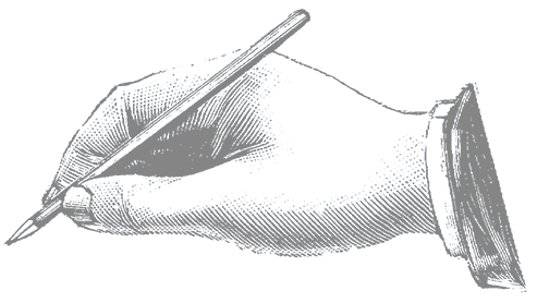 illustration of hand holding a pen