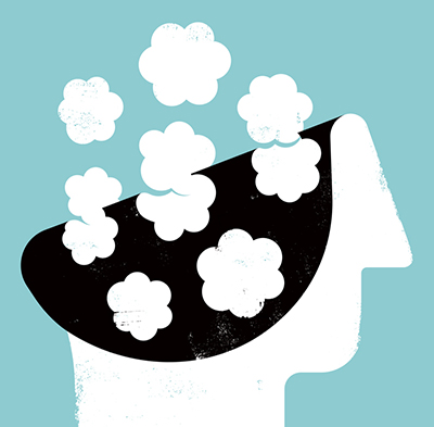 illustration of a head in the clouds