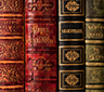 A close up of leather bound books