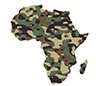 Africa outline and filled in with camouflage