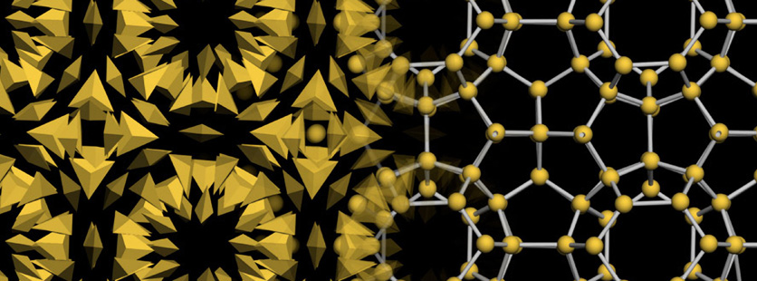Up close image of nano particles in geometric pattern using yellow and black colors