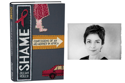 A book cover with the word Shame on the spine and a vintage style photo of Jillian next to it