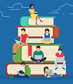 illustration of students sitting on a pile of books