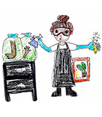 child's drawing of a female scientist